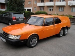 Orange Saab 900 Wagon