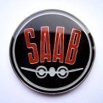 Black Saab Plane Badge