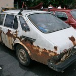 This is quite possibly the rustiest Saab I've ever seen