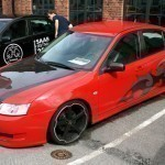 Custom-painted Saab 9-3 with carbonfibre hood
