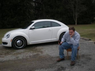 Jim recreating a classic Saab shot with a 2012 Beetle