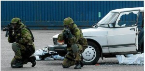 Norwegian Nat Guard shoot up a Saab