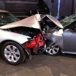 Saab 9-5 offset crash