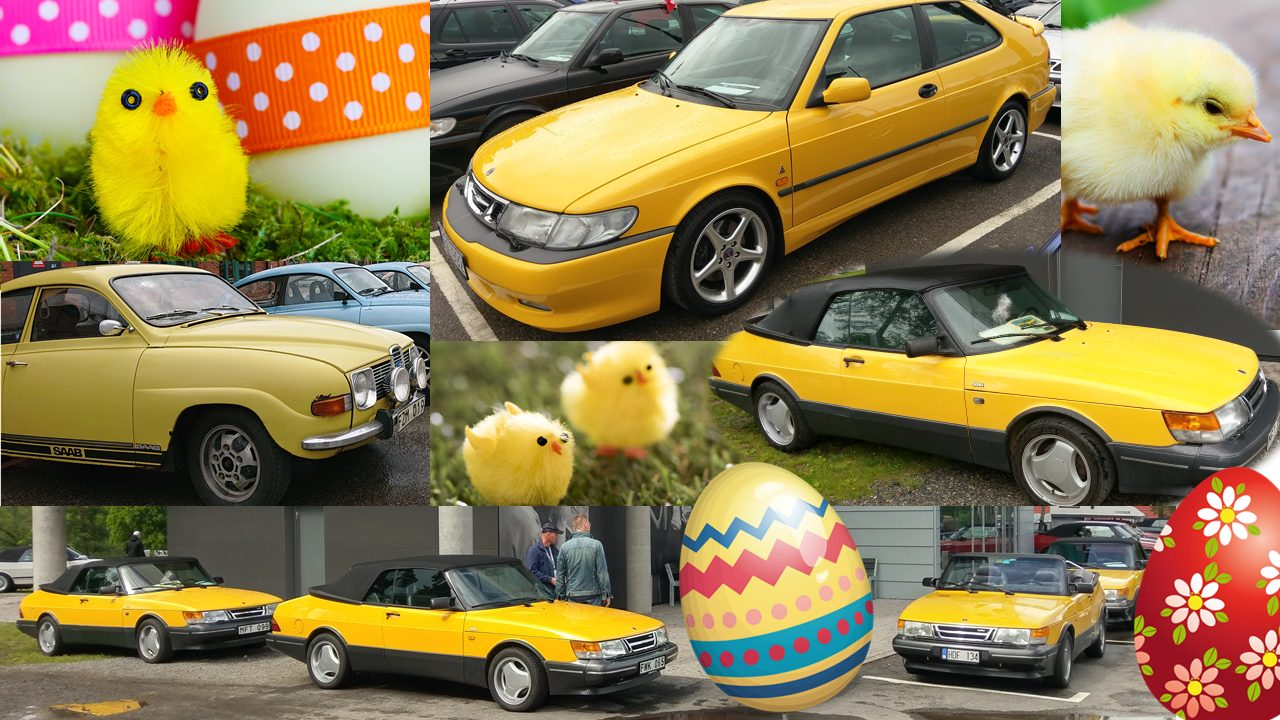 Easter card. Collage of yellow Saabs and Easter eggs and chickens.