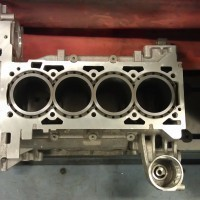 New cylinder liners mounted in the engine block